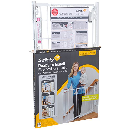 51RPhBKEWeL Safety 1st Ready to Install Baby Gate (White)    Create child-friendly spaces in your home with the Safety 1st Ready to Install Baby Gate. This sturdy baby gate can be opened with one hand and adjusted to fit doorways and openings ranging from 29 to 42 inches wide. This baby gate comes fully assembled for quick and trouble-free installation for a flat mounting surface at least 3.5 inches wide. The innovative design requires no drywall anchors and can be installed with a single screwdriver in just 15 minutes. The baby gate's no-threshold design removes the risk of tripping for extra safety when mounted at the top of a staircase. Easily create a safe space for children in your home by using this 30-inch-high adjustable baby gate in doorways, hallways, staircases, and more. Includes one baby gate. JPMA-certified baby gate meets ASTM standards for safety and includes a one-year limited warranty. Safety 1st believes parenting should have fewer worries and more joyful moments. As the first and only leader in child safety, Safety 1st is here to give you peace of mind so you can spend less time worrying and more time enjoying every first you experience with your child. Gate swings shut easily