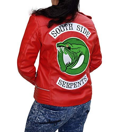 Cup Of Fashion Assymetrical Biker Leather Jacket - Women Snake Logo Jacket (Large, Red PU Leather Jacket)