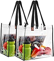 2-Pack Stadium Approved Clear Tote Bag, Stadium Security Travel & Gym Clear Bag, Perfect for Work, School,