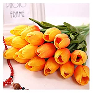SHINE-CO LIGHTING Single Stem Real PU Touched Artificial Tulips 10 Pcs Arrangement Bouquet with Glorious Moral for Home Office Wedding Parties 12