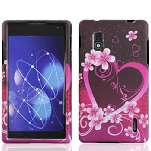(Purple Heart Design Rubberized Protector Case for LG Optimus G E970)