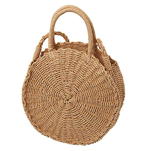 Multi Charm Keychain - COOFIT Beach Straw Bags, Round Straw Bag Pompom Shoulder Bag Beach Summer Woven Bags
