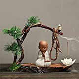 New Chinese style Zen Little Monk Purple Clay Backflow Incense Burner Holder Weathered wood Ceramic Arts and Crafts for Home Decoration Tea ceremony