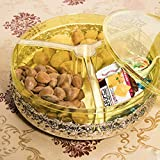 YCDTMY Dry Fruit Plate Candy Sugar Plate Dry Fruit Dish Plastic Living Room Sealed Moisture-Free Snack Tray Yellow