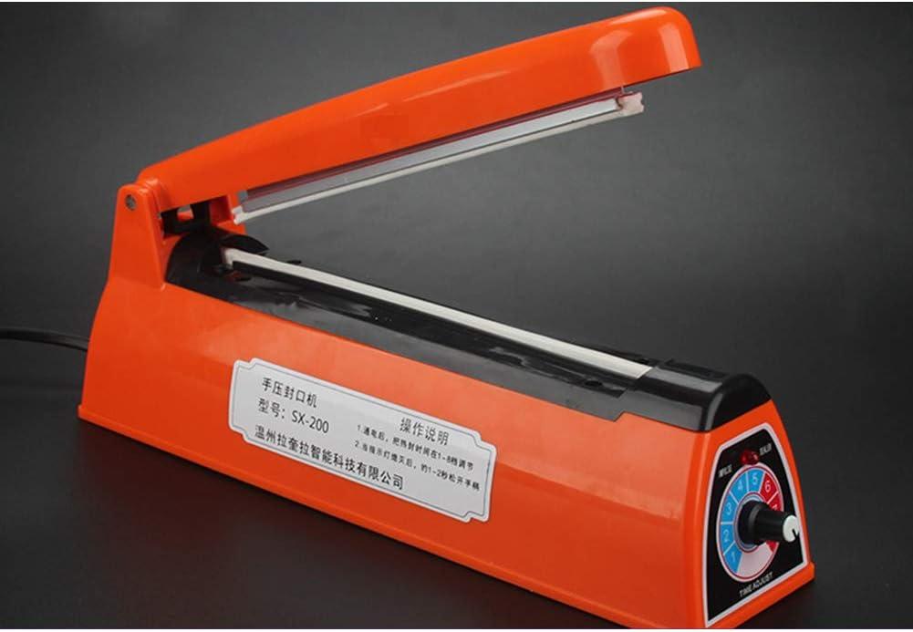 YANXS Bolsa de Plastico Envasadoras al Vacío para Alimentos 200mm Impulso Calor Cazador de Focas Máquina Selladora al Vacío Embalaje de la Bolsa para PP y PE Bolsa de Plastico,Naranja,Naranja
