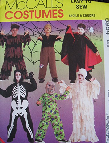 McCall's 9629 Boys Girls Toddlers Mummy Dracula Frankenstein Costume Sewing Pattern Size 10-12-14