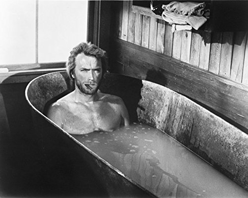 Erthstore 8x10 inch Photograph of Clint Eastwood High Plains Drifter Sitting in Bathtub with Cigar Looking Tough