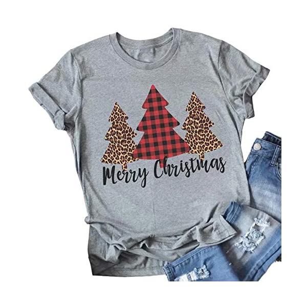 Merry Christmas Tree Print T-Shirt Women Leopard Plaid Casual Short Sleeve Tee Tops Blouse