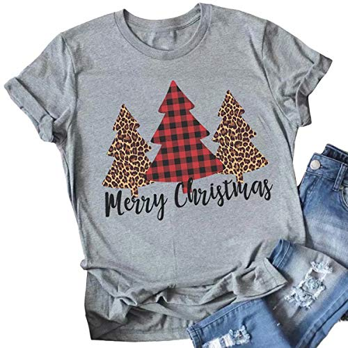 Merry Christmas Tree Print T-Shirt Women Leopard Plaid Casual Short Sleeve Tee Tops Blouse Size M (Gray)