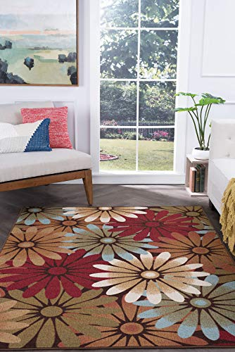 Tayse Ina Multi-Color 5x7 Rectangle Area Rug for Living, Bedroom, or Dining Room - Transitional, Floral