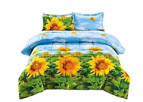 HUAJIE 3 Piece Set Beautiful Soft 3D Print Gorgeous Flower Pattern Box Stitched Comforter Set(1 Comforter,2 Pillowshams) (King, Sunflower)