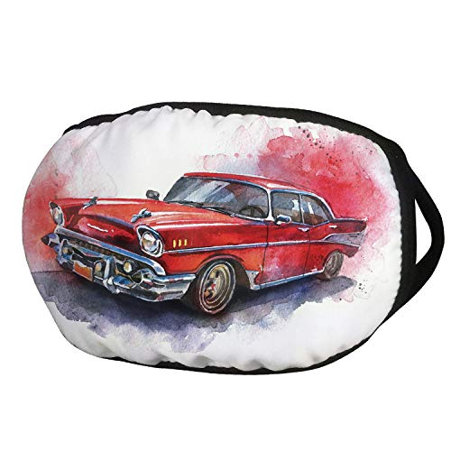 Fashion Cotton Antidust Face Mouth Mask,Watercolor,Hand Drawn Old Fashioned Car Antique Motor Vehicle Retro Outdated Abstract Art Decorative,Red Dimgrey,for women & men ()