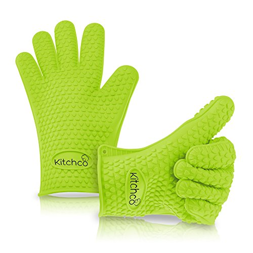 KitchCo Silicone Heat Resistant BBQ and Cooking Gloves - Directly Manage Hot Food - Green by KitchCo