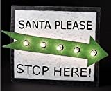 20'' LED Lighted Green and White ''Santa Please Stop Here'' Christmas Yard Art Silhouette