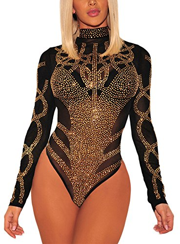 ENLACHIC Women's Sexy Long Sleeve Rhinestone Turtleneck Bodysuits Sequin See Through Mesh Clubwear,Black,S -