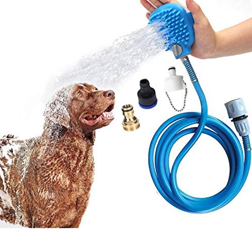 Dog Bathing Tool Pet Shower Sprayer & Pet Bath Brush 2-in-1 Upgraded Pet Shower Attachment For Bathtub & Outdoor Garden Hose Compatible, for Dog Cat Horse Cleaning and Massaging