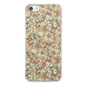 Floral iPhone 5s Transparent Edge Case - Beige and White