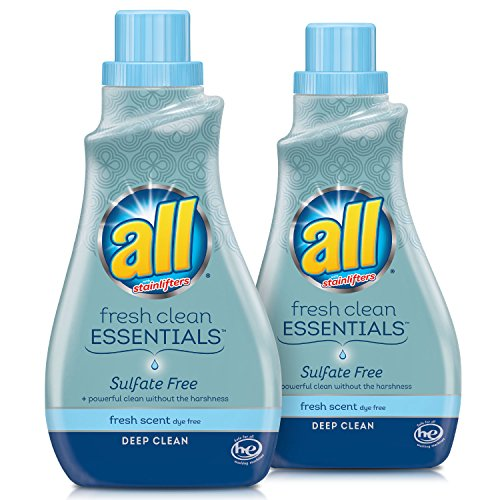 all Fresh Clean Essentials Laundry Detergent, Sulfate Free, Fresh Scent, 30 Fluid Ounces, 2 Count, 46 Total (Scent Free Liquid)