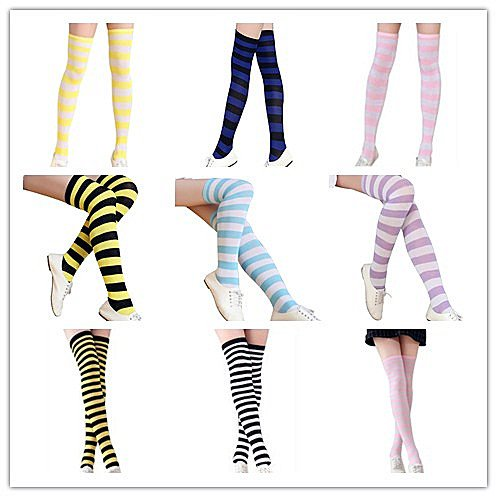 AIVTALK-Womens-Girls-Striped-Over-the-Knee-Thigh-High-Socks-Stockings