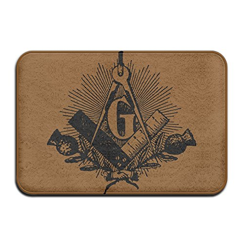 Indoor/Outdoor Area Rug Floor Mat With Freemason Symbol Masonic Pattern For Front (Mason Outdoor Area Rug)