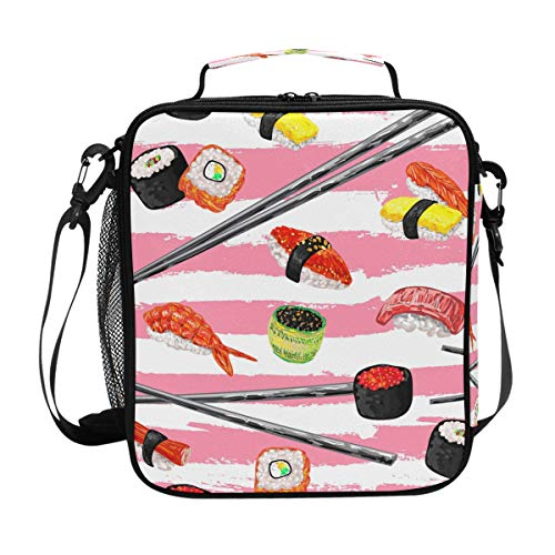 U LIFE Cute Shrimp Sushi Carp Ocean Sea Food Japanese Striped Lunch Bag Picnic Bag Insulated Cooler Food Tote Bag for Kid Girl Boy Women Men