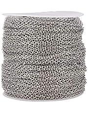 NBEADS 100m de 2 mm Rolo Cable Link Cadena para Hombres Mujeres Sin Soldadura para DIY Fabricación de Collar de Pulsera Artesanal, Color Platino, Ven en Rollo