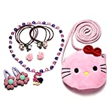 Little Girls Plush Cartoon Bag Necklace Earrings Hair Ties Hair Clips Jewelry Set (Purple Kitty)