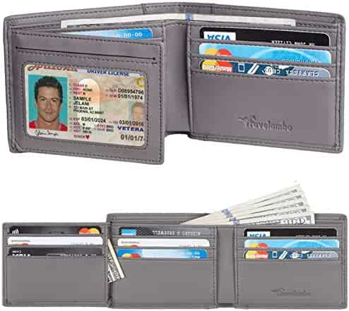 811851743be0 Travelambo Genuine Leather RFID Blocking Wallets Mens Wallet Bifold Left ID