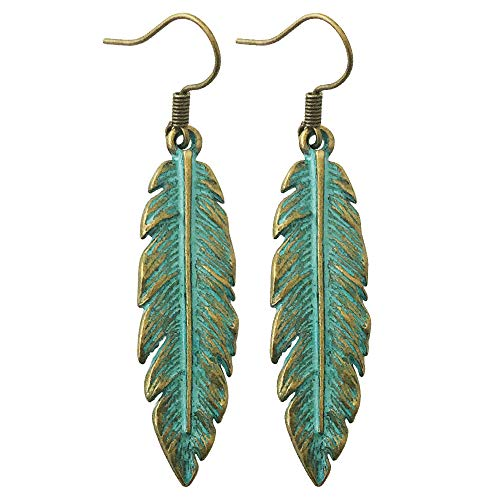 Swan Feather Earrings - Antique Bronze and Turquoise Feathers Earrings