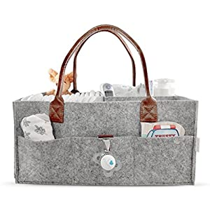 Lily Miles Baby Diaper Caddy | Nursery Diaper Tote Bag | Large Portable Car Travel Organizer | Boy Girl...
