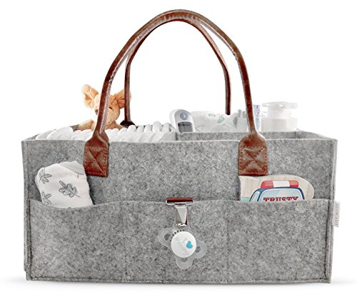 Nursery Shower Gift (Lily Miles Baby Diaper Caddy | Nursery Diaper Tote Bag | Large Portable Car Travel Organizer | Boy Girl Diaper Storage Bin for Changing Table | Baby Shower Gift Basket | Newborn Registry Must Haves)