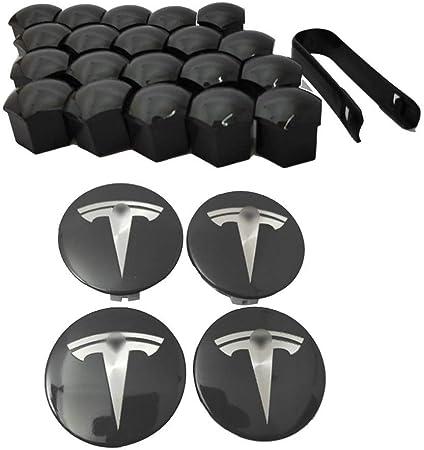 Ksruee Capuchon de moyeu en Acier Inoxydable 4PCS Compatible pour Tesla Mod/èle S X et 3 Cap.