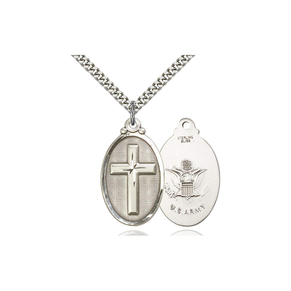 DiamondJewelryNY Sterling Silver Cross//Army Pendant