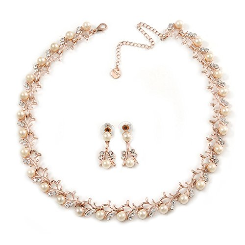 Pearl Faux Clear Crystal - Avalaya Bridal/Wedding/Prom Cream Faux Pearl, Clear Crystal Necklace with Drop Earrings Set in Rose Gold Metal - 43cm L/ 9cm Ext - Gift Boxed