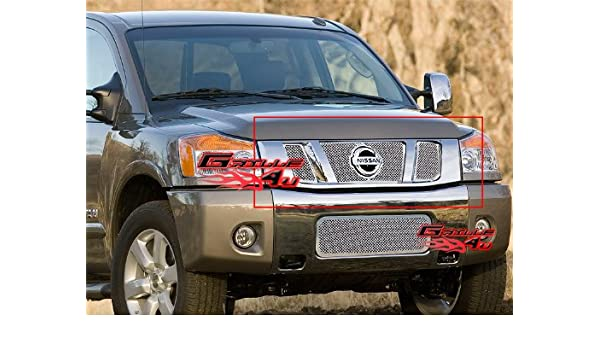 APS Compatible with 2008-2014 Nissan Titan Stainless Steel Grille Grill Combo N19-T60877N