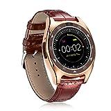 Pocciol Wrist Watch, Women Men Women Smart Watch,Heart Rate Blood Pressure Waterproof Bluetooth Monitor Slot Wrist Watch (Gold)