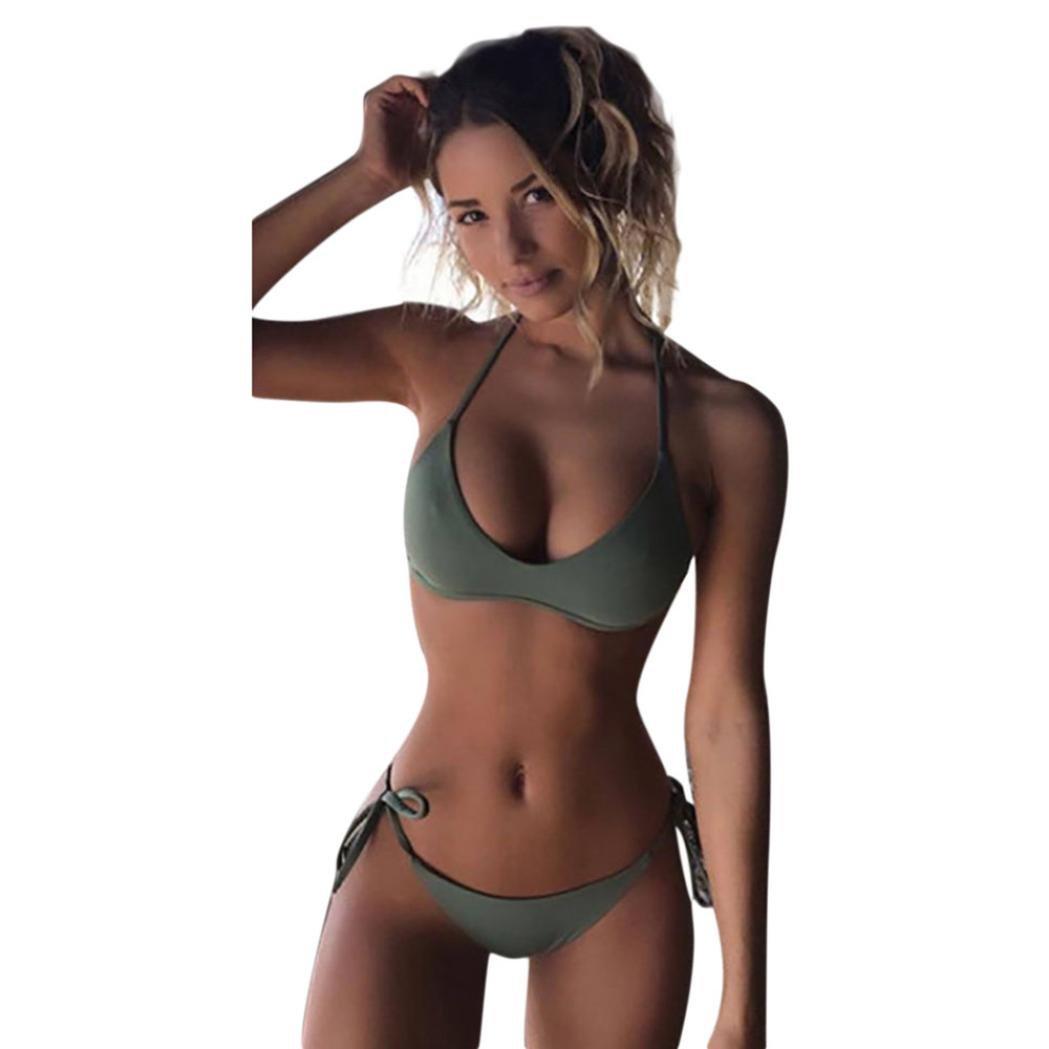 5b69415194fa1 Amazon.com: Koolee Sexy Green Bikini Set Women Swimwear Push-up Padded  Solid Bra Swimsuit Two Piece Beachwear: Clothing
