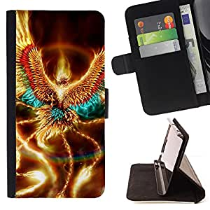 Golden Shiny Phoenix Mystical Creature Wings - Painting Art Smile Face Style Design PU Leather Flip Stand Case Cover FOR Samsung Galaxy Core Prime @ The Smurfs