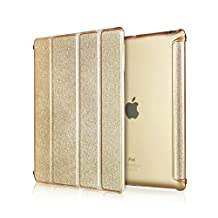 Mingus Ultra Slim 3-Fold Smart Case Cover Shell for iPad mini 1/mini 2, Silk Pattern Leather Case Folio Smart Cover for iPad mini 1/mini 2 + Screen Protector + Stylus Pen - Gold