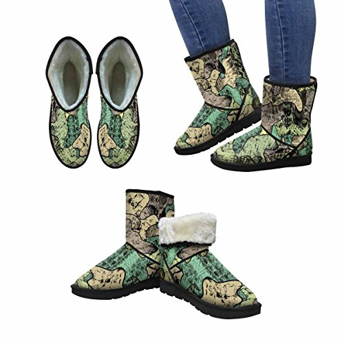 InterestPrint Womens Snow Boots Camouflage Pattern In Green Color Unique Designed Comfort Winter Boots Multi 1 kmePyhqLU