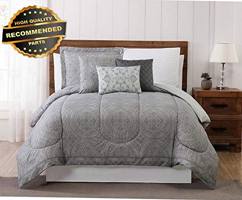 Gatton Premium New Pem America Style 212 Home Calista 12-Piece Gray Queen Comforter Set 200 | Style Collection Comforter-311012720 ()