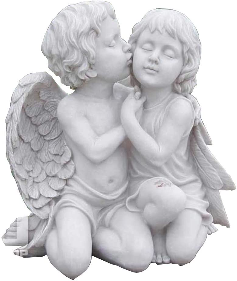 Mankvis Garden Angel Statue Sculpture, Resin Kissing Couple Angel Art Craft Model Garden Your Outdoor Grass Ornament Decoration 13.7×9×15Inch