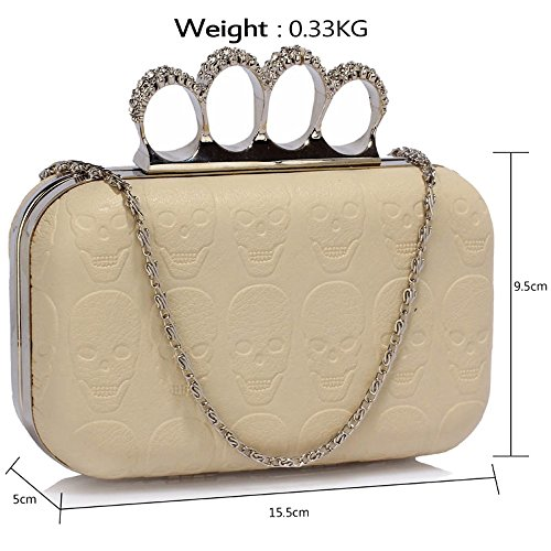 Save Delivery Uk Clutch Free Bag Gorgeous Ivory Skull Embossed 50 4qZOxnw8Y0