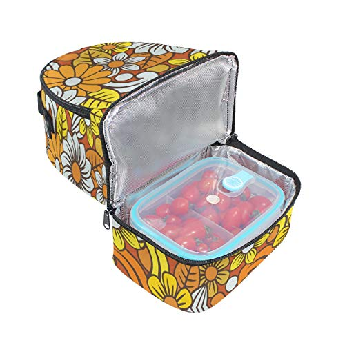 Sac Cooler lunch Boho à à réglable Imprimé isotherme avec pour floral Boîte Tote bandoulière l'école Pincnic Folpply Y1wq8