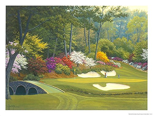 Augusta Hole National 12th - 12th Hole at Augusta by Charles White Landscape Sport Golf Garden Print Poster 25x19
