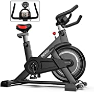 ONETWOFIT Indoor Exercise Bike with Monitor,Adjustable Seat & Handlebars Cycling Bike for Home Cardio Work