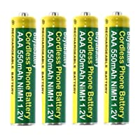 Pack of 4 BuyaBattery Branded Cordless Phone Batteries AAA 550mAh Rechargeable NiMH 1.2V