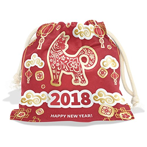 Happy Chinese New Year 2018 Year Of The Dog Velvet Drawstring Gift Bag Wrap Present Pouch Favor for Party Game Wedding, Multiple Sizes (Dog Stamp Zodiac)