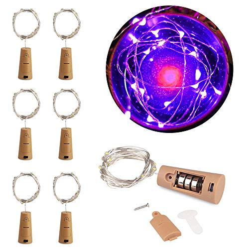 MOMO Set of 6 Purple Wine Bottle Cork Lights - 2m 20 LED Copper Wire Lights String Starry Battery Powered Fairy Lights for DIY, Party, Decor, Christmas, Halloween, Wedding or Mood Lights