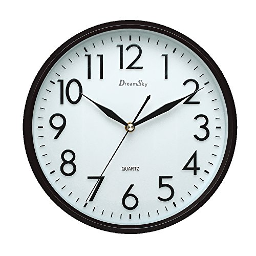 DreamSky 10 inches Silent Non-Ticking Quartz Wall Clock Decorative Indoor Kitchen Clock ,3D Numbers Display ,Battery Operated Wall (Wall Clock Silent)